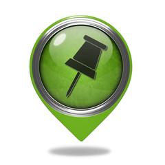 Safety pin pointer icon on white background