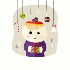 Christmas boy with Decorative Balls