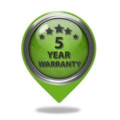 Five year warranty pointer icon on white background