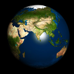 Earth with accurate country boundaries.