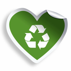 Heart green sticker with recycle icon isolated on white