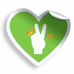 Heart green sticker with peace icon isolated on white