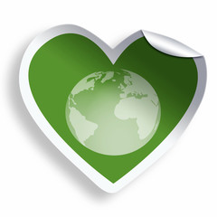 Heart green sticker with earth icon isolated on white