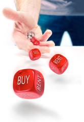 Buy vs Rent indecision, risk concept.