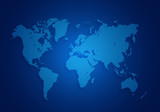 Fototapety world map located on a dark blue background.