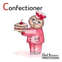 Alphabet professions Owl Letter C - Confectioner Vector