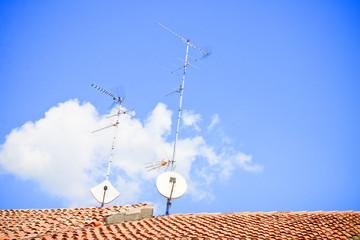 Domestic TV and Radio Aerials on the roof