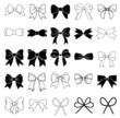 Set of graphical decorative bows. - 72365501
