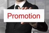 businessman holding sign promotion poster