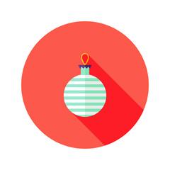 Decorative Stripped Christmas Ball Flat Icon