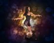 Beautiful dancer. Glow multicolor pentagons