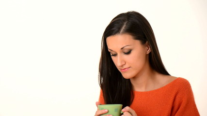 women drink hot coffe