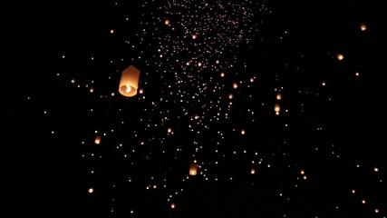 Floating lanterns in Yee Peng Festival. Chiangmai, Thailand.