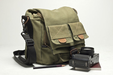 Old camera and bag
