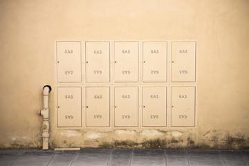 Protective metal Box of gas meter in a condominium building