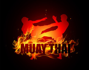 Thai boxing is kicking with muay thai fire vector