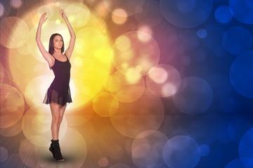 Beautiful dancer. Glow multicolor circles