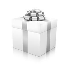 Geschenkpaket, Geschenk, Weihnachtsgeschenk, Silber, Weiß, 3D