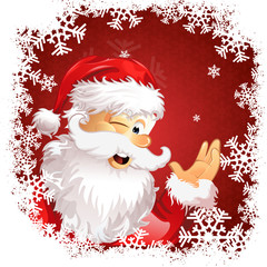 red christmas background santa claus