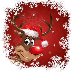rudolph red christmas background snowflakes