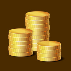 Stacks of Golden Coins on Dark Background.