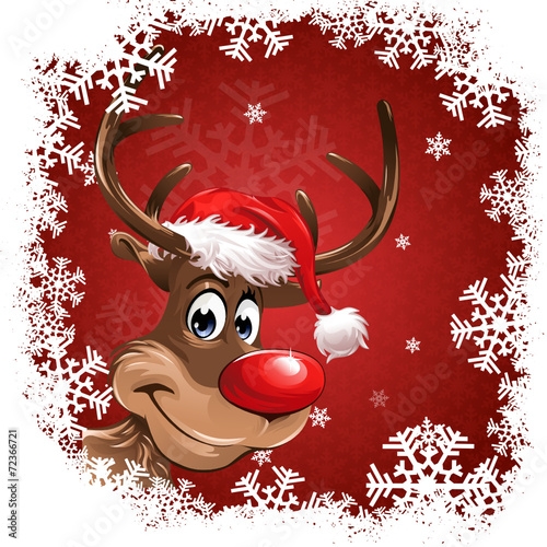 rudolph red christmas background snowflakes - 72366721