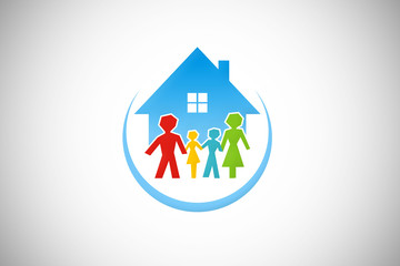 family house stay together logo vector