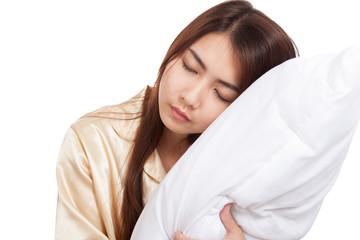 Asian girl  wake up  sleepy and drowsy with pillow