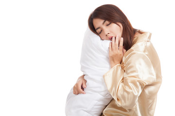 Yawn Asian girl  wake up  sleepy and drowsy with pillow