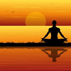 silhouette di uomo che medita