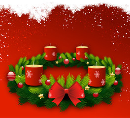 Christmas wreath candles off red background