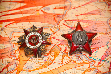 Map of battles in World War II. Order of the Red Star