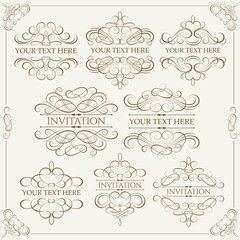 Vector set - calligraphic design elements
