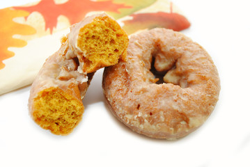 Autumn Pumpkin Spice Donuts with a Festive Napkin