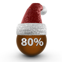 Eighty percent sphere icon on white background