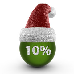 Ten percent sphere icon on white background