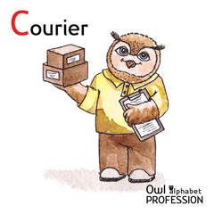 Alphabet professions Owl Letter C - Courier Vector Watercolor.