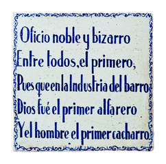 Azulejo con refrán, oficio de alfarero