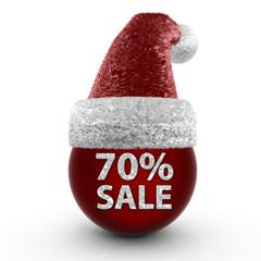 Sale seventy percent sphere icon on white background