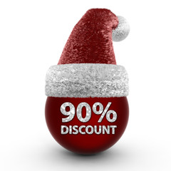 Discount ninety percent sphere icon on white background