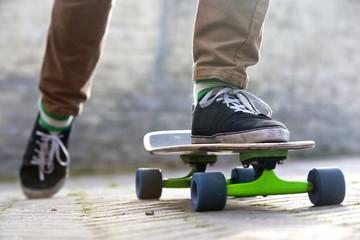 Skateboarder departing