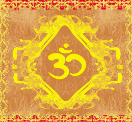 om symbol - vintage artistic background