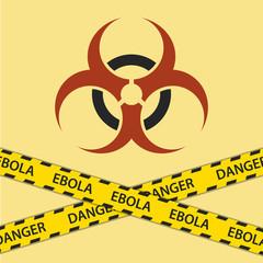 Warning ebola biohazard sign