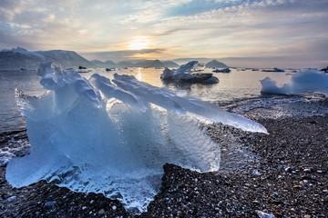 Ice on the Arctic beach - Svalbard