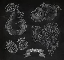 Fruit pear, peach, raspberry, grape chalk