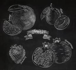 Fruit orange, plum, strawberry, pomegranate chalk