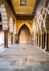 ZARAGOZA, SPAIN - JUNE 8, 2014 Arabic arches at Aljaferia Palace