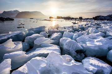 Arctic fjord landscape - ice on the shore - Spitsbergen