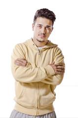 Isolated on white latin man posing