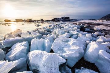 Arctic landscape - glacier ice on the beach